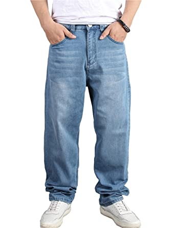 11344af87a2 DSDZ Mens Baggy Hip Hop Jeans Pants Loose Skateboard Denim Trousers For Man  at Amazon Men s Clothing store