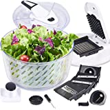 FAVIA Salad Spinner Large 6 Quart for Lettuce Herbs Washer Quick Dryer with Vegetable Chopper Set Multifunctional Kitchen Gad