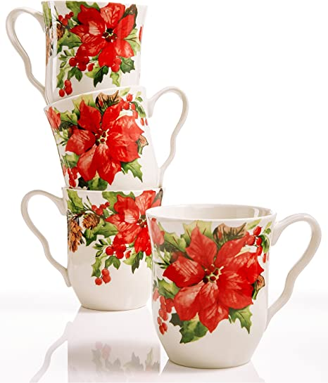 222 FIFTH HOLIDAY WISHES CARDINAL /& POINSETTIA COFFEE CUPS SET OF 4