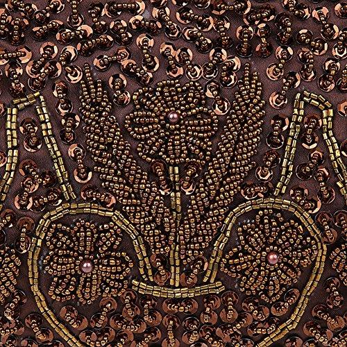 Satin Purse Handmade Clutch Handbags Albabara Evening Brown Beaded OxqC1xgwA