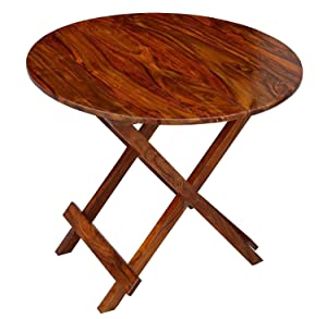 Santosha Decor Solid Sheesham Wooden Folding Table/Coffee Table/Center Table/Bedside & Sofa Side Table/Living Room Furniture/Waiting Room Balcony and Office - Natural Finish with Special PU Polish