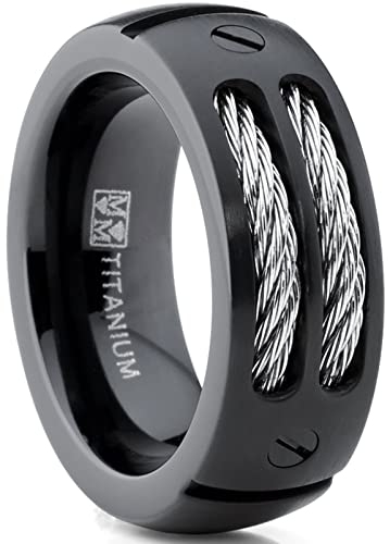 8mm mens black titanium ring wedding band with stainless steel cables and screw design size 7 - Mens Black Titanium Wedding Rings