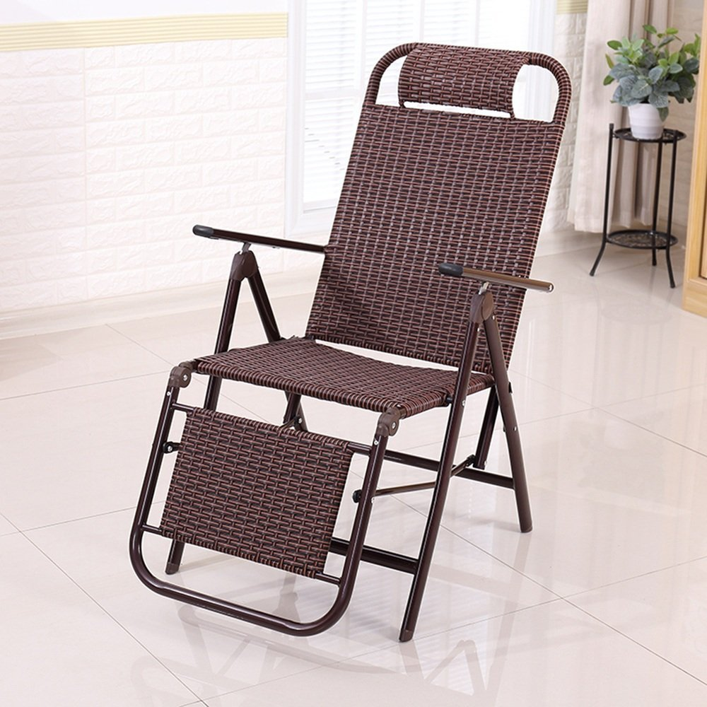 E XRXY Handmade Casual Folding Wicker Chair Office Simple Lunch Break Recliner Outdoor Portable Old Man Backrest Chair Practical Beach Chair