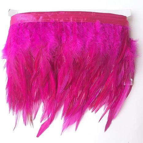 Black KOLIGHT Pack of 2 Yards Natural Rooster Hackle Feather Trim Fringe 5-7 in Width DIY Decoration
