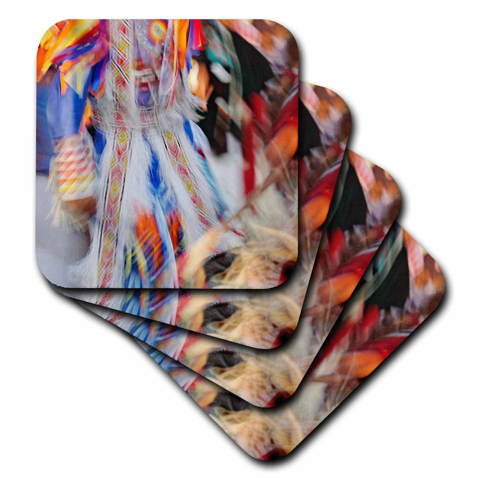 3dRose cst_91580_3 Native American Indian dance, Montana - US27 AJE0095 - Adam Jones - Ceramic Tile Coasters, Set of 4