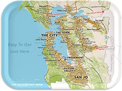 Amazon Com Trays4us San Francisco Bay Area Humorous Map 11x8 Inches Medium Breakfast Tray 70 Different Designs Serving Trays