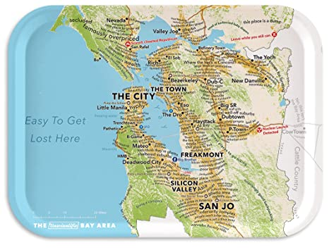 Trays4Us San Francisco Bay Area Humorous Map Birch Wood Veneer 11x8 on chicago map, kansas city map, northern ca map, omaha map, bay area map, detroit map, berkeley map, united states map, sydney australia map, dallas map, new york map, san diego, boston map, california map, sausalito map, london map, new orleans map, usa map, salt lake city map, tokyo map, golden gate park map, las vegas map, los angeles map,