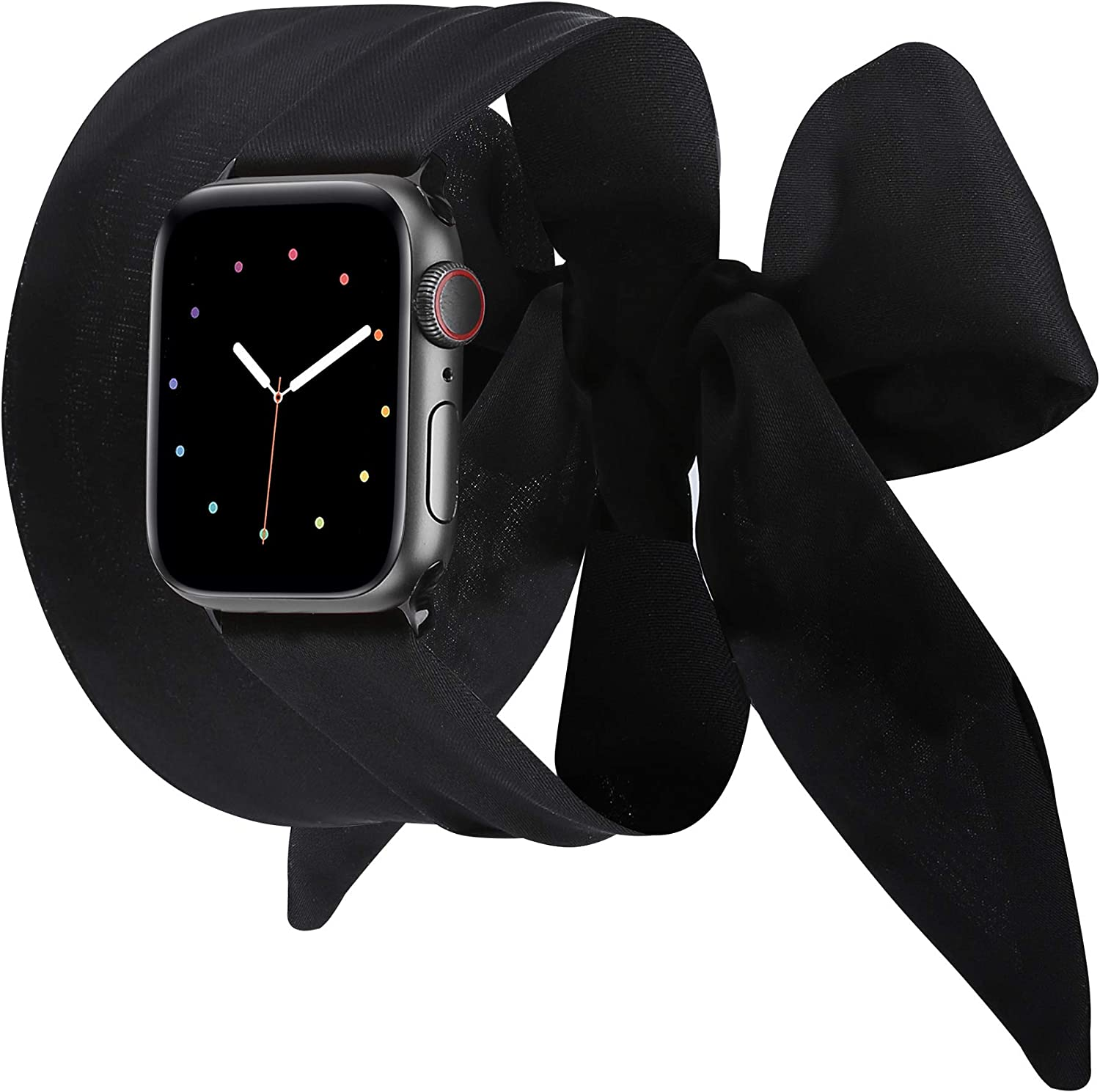 Wearlizer Compatible with Apple Watch Bands Scarf 38mm 40mm for iWatch Band Women Girls Fashion Scarf Band Replacement Wrist Strap for Apple Watch SE Series 6 5 4 3 2 1 - Black
