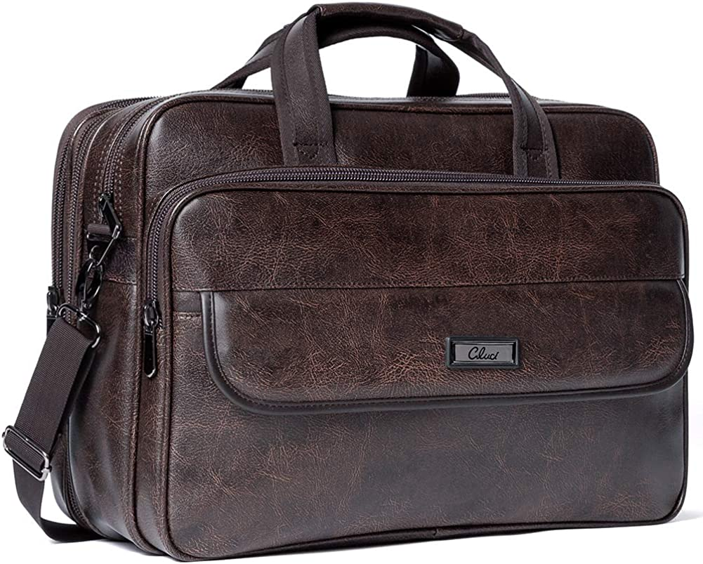 CLUCI Leather Briefcases for Men Expandable 15.6 Inch Laptop Bag Large Business Vintage Travel Computer Shoulder Bag Brown