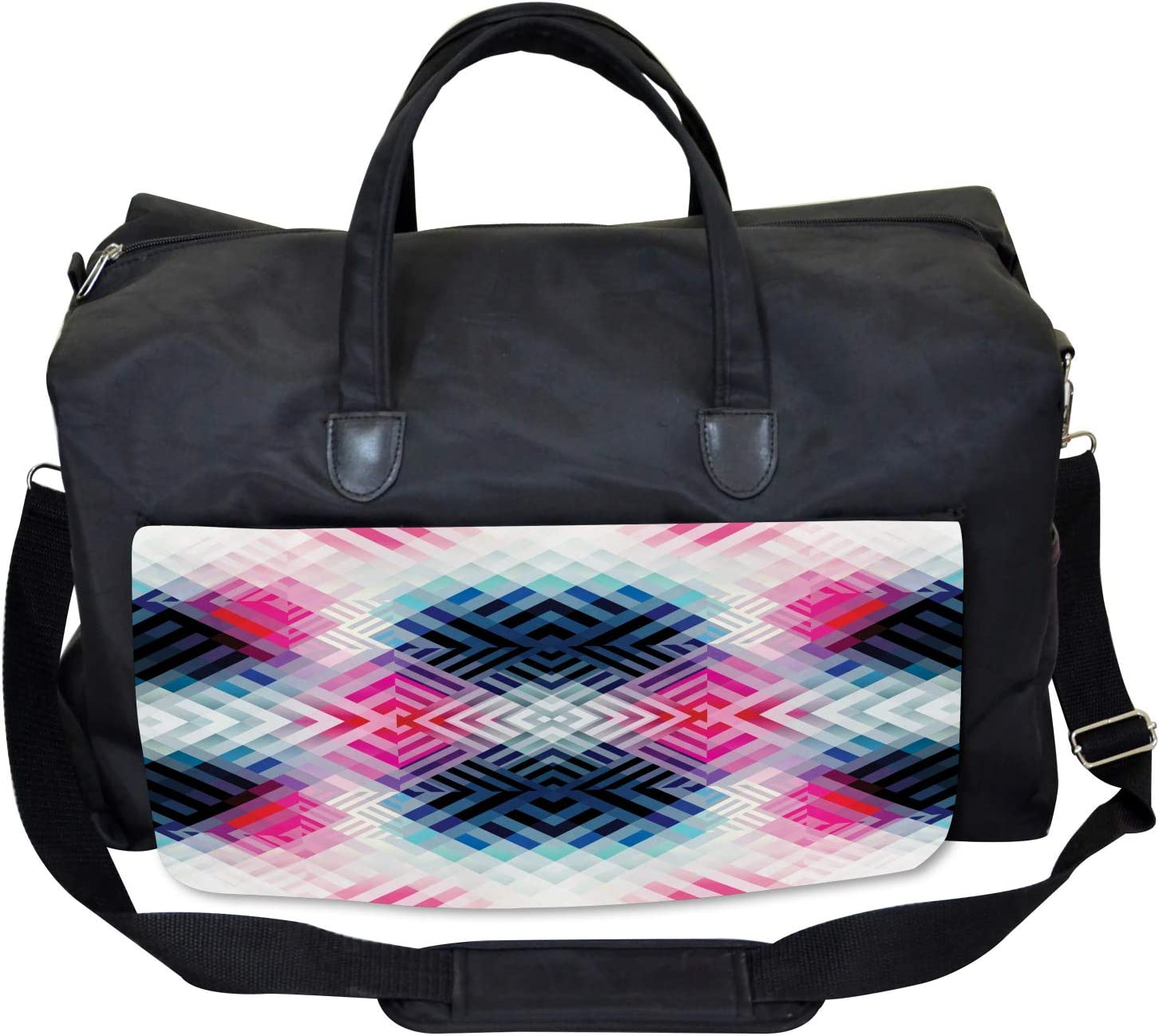 Large Weekender Carry-on Ambesonne Abstract Gym Bag Geometric Lines Angle