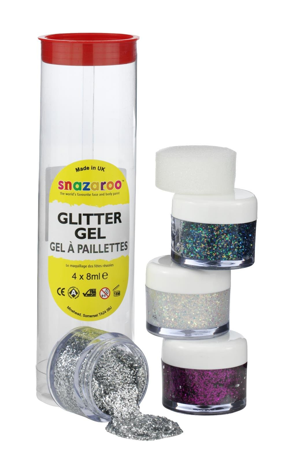 Snazaroo Face And Body Paint, Glitter Gel, Tube A, Assorted, 4 x 8ml