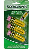 Ticonderoga Pencil-Shaped Erasers, Latex-Free, 3-Pack (38953)(2Pack)