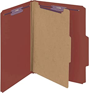 "Smead Pressboard Classification File Folder with SafeSHIELD Fasteners, 1 Divider, 2"" Expansion, Letter Size, Red, 10 per Box (13775)"