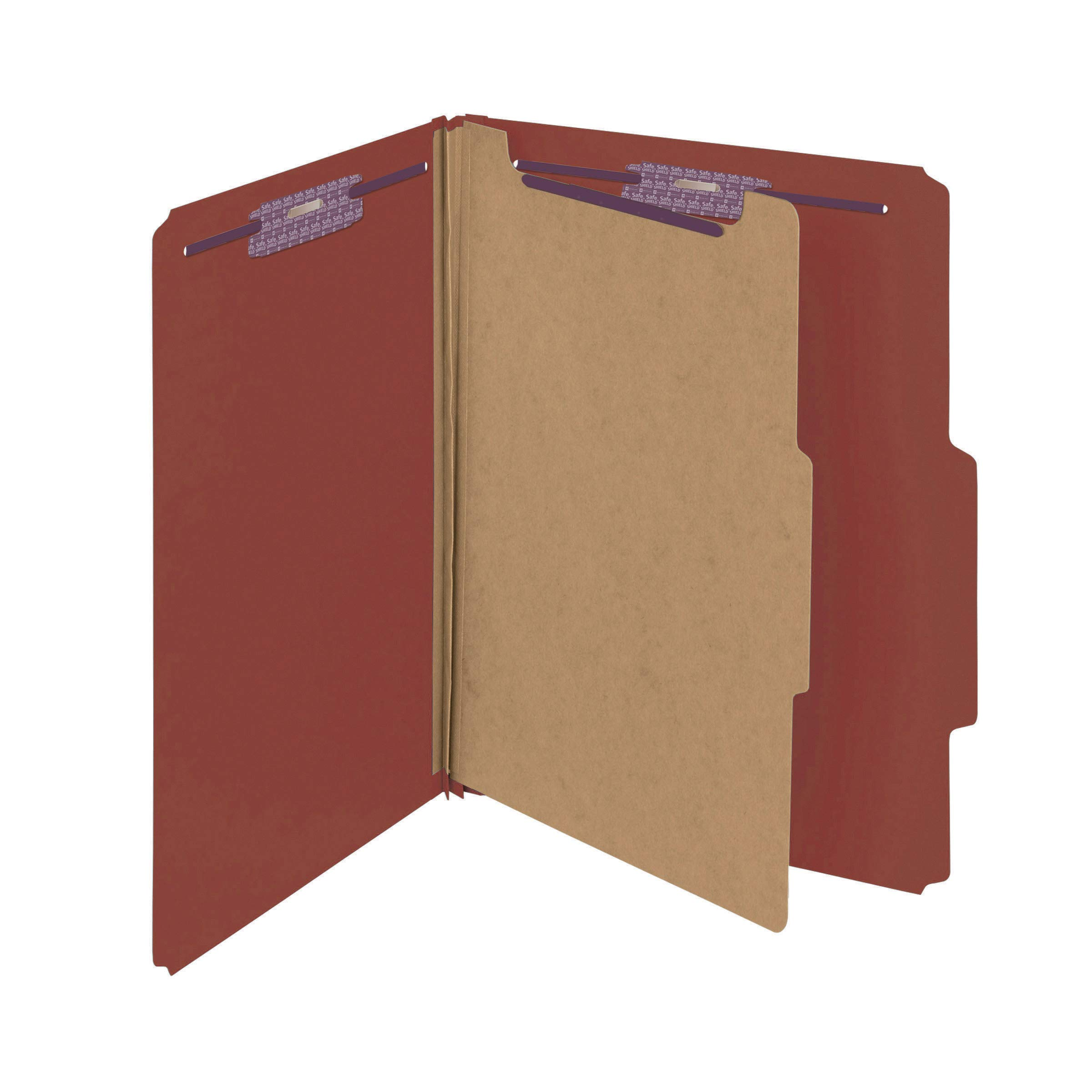 Smead Pressboard Classification File Folder with SafeSHIELD Fasteners, 1 Divider, 2'' Expansion, Letter Size, Red, 10 per Box (13775)