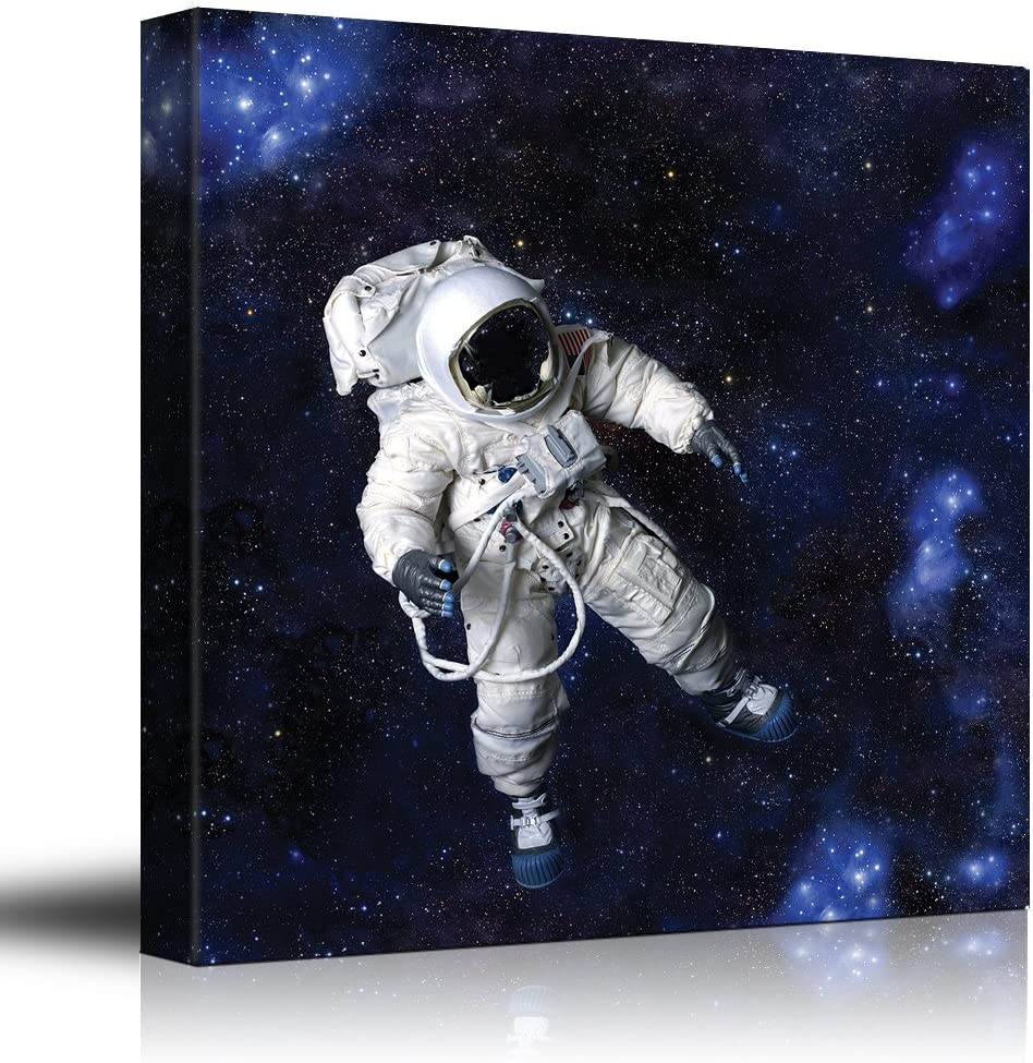 Beautiful Visual, it is good, Fully Equipped Astronaut Floating in a Blue Starry Galaxy