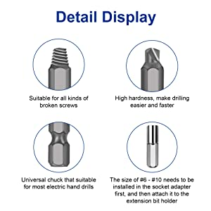Werkzeug Damaged Stripped Screw Extractor Set for Broken Screw, All-Purpose HSS Broken Bolt Extractor Screw Remover Set with Magnetic Extension Bit Holder & Socket Adapter (22 PCS ) (Tamaño: #1, #2, #3, #4, #5, #6, #7, #8, #9, #10)