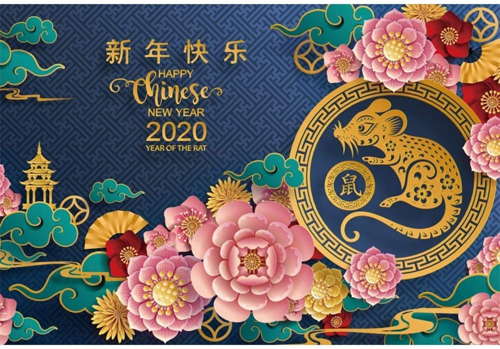 10x6.5ft Happy New Year of The Rat 2020 Backdrop Vinyl Chinese Style New Year Picture Mouse Paper-Cut Flowers Antique Tower Photography Background New Year Celebration Party Banner Studio
