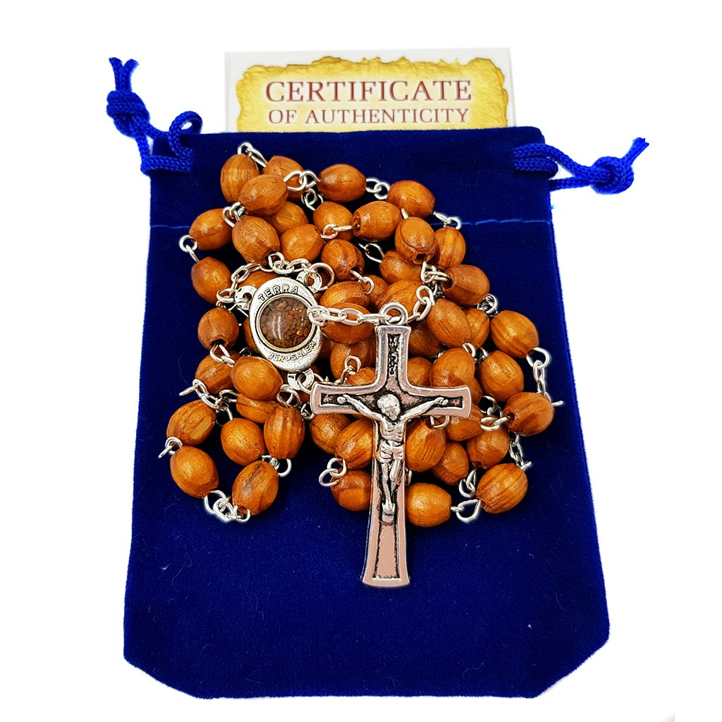 Carved Beads Catholic Rosary Necklace with Jerusalem Soil Centerpiece Rosary Pouch Certificate Holy Land Gift Holy Land Collection