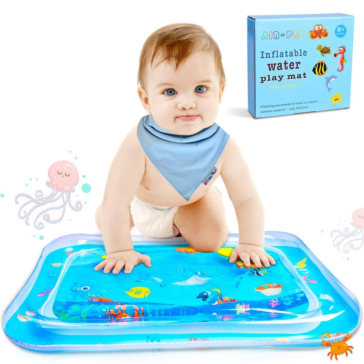 LEEHUR Baby Inflatable Tummy Time Premium Water Play Mat Newborns Infants Toddlers Summer Cooling Toys Early Development Activity Center Stimulation Growth Blue