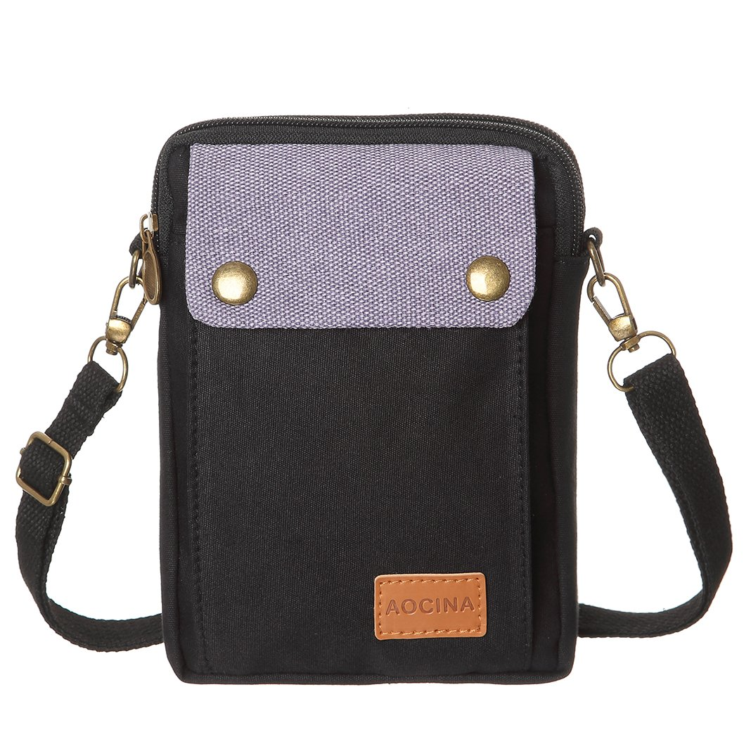 Cell Phone Purse Wallet Canvas Big Pocket Women Small Crossbody Purse Bags (Black)