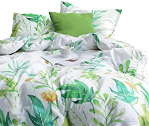 Wake In Cloud - Floral Duvet Cover Set, 100% Cotton Bedding, Botanical Flowers and Green Tree Leaves Pattern Printed on White, with Zipper Closure (3pcs, Full Size)