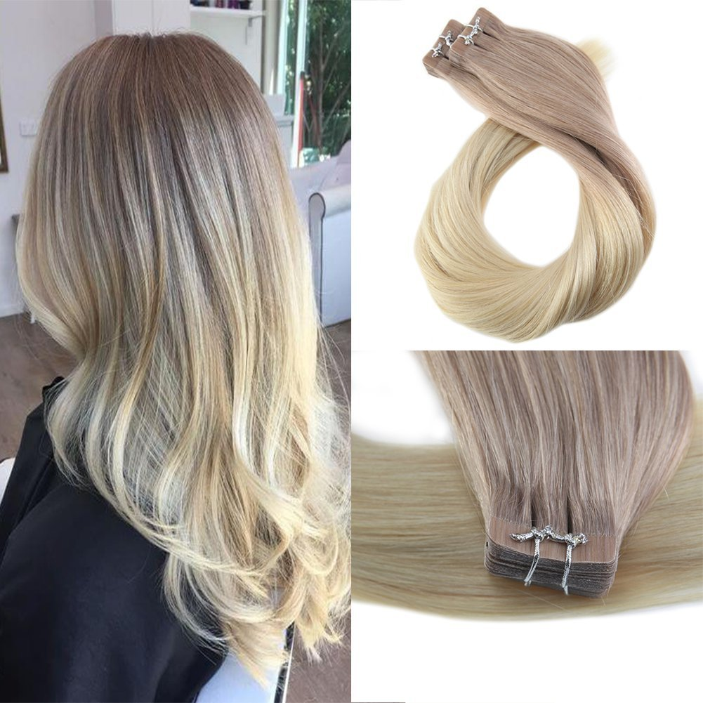 Moresoo 20 Inch Glue Hair Extensions Hair Tape in Extensions Adhesive 100 Grams 40 Pieces Per Pack Ash Blonde #18 and Bleach Blonde #613 Real Remy Hair Tape ins Human Tape in Hair Extensions Ltd