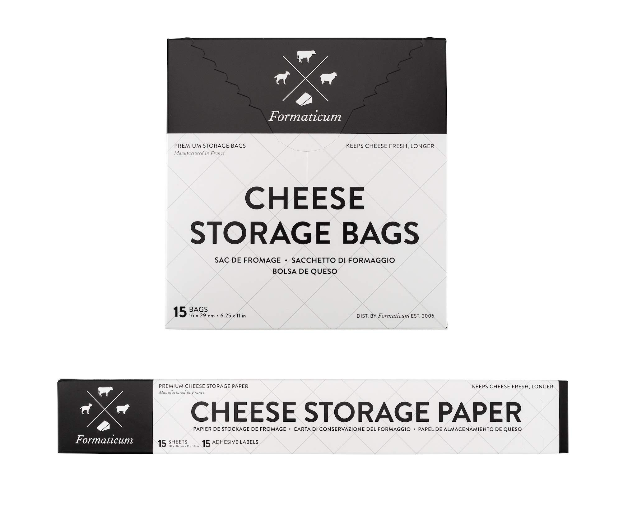 Formaticum Cheese Storage Bags, Wax-Coated Cheese Storage Paper, and Adhesive Labels, 15 Each by Formaticum