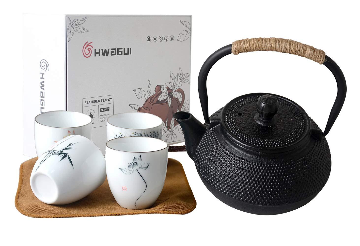 HwaGui Juego de té de Hierro Fundido - Tetera de 600 ML con infusor ...