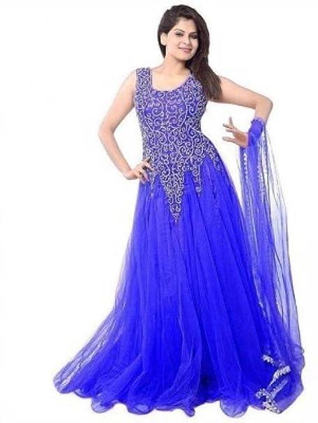 OWEE Women s Soft Net Semi-Stitched Gown (Blue 41690fbd7