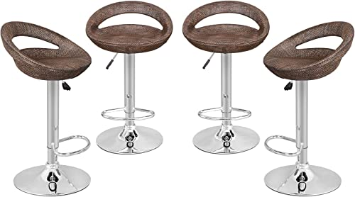 SUPER DEAL Adjustable Pub Wicker Style Barstool All Weather Patio Bar Stool Indoor Outdoor w Gas Lift 25-34 inch, Open Back and Chrome Steel Footrest