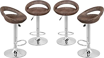 Super Deal Adjustable Pub Swivel All Weather Wicker Barstool Gas Lift25-34 inch, Rattan Style (Set of 4)