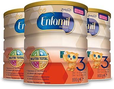 Leche infantil de continuacion para lactantes ni/ños de 1 a 3 a/ños Consumo de 1 mes 800 g Pack 3 Unidades Enfamil Premium 3
