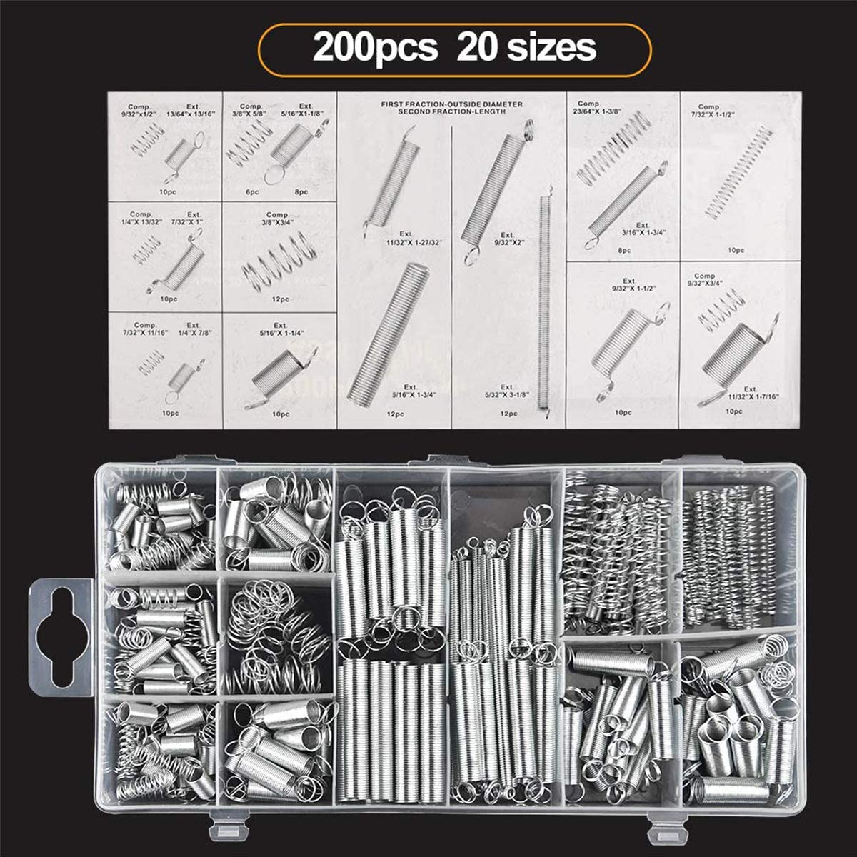 Metallspannfeder-Set 200 St/ück Druck-Verl/ängerungsfeder-Sortiment mit Aufbewahrungsbox verschiedene verzinkte Federn Federn sortiert Verl/ängerung und Kompressionsfedern