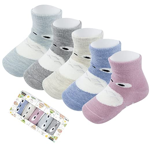Infant Non Skid Socks with Grips Toddler Girls Boys Animal Fun Socks 0-12-24 Months Baby Gift,5 Pack Clothing & Accessories