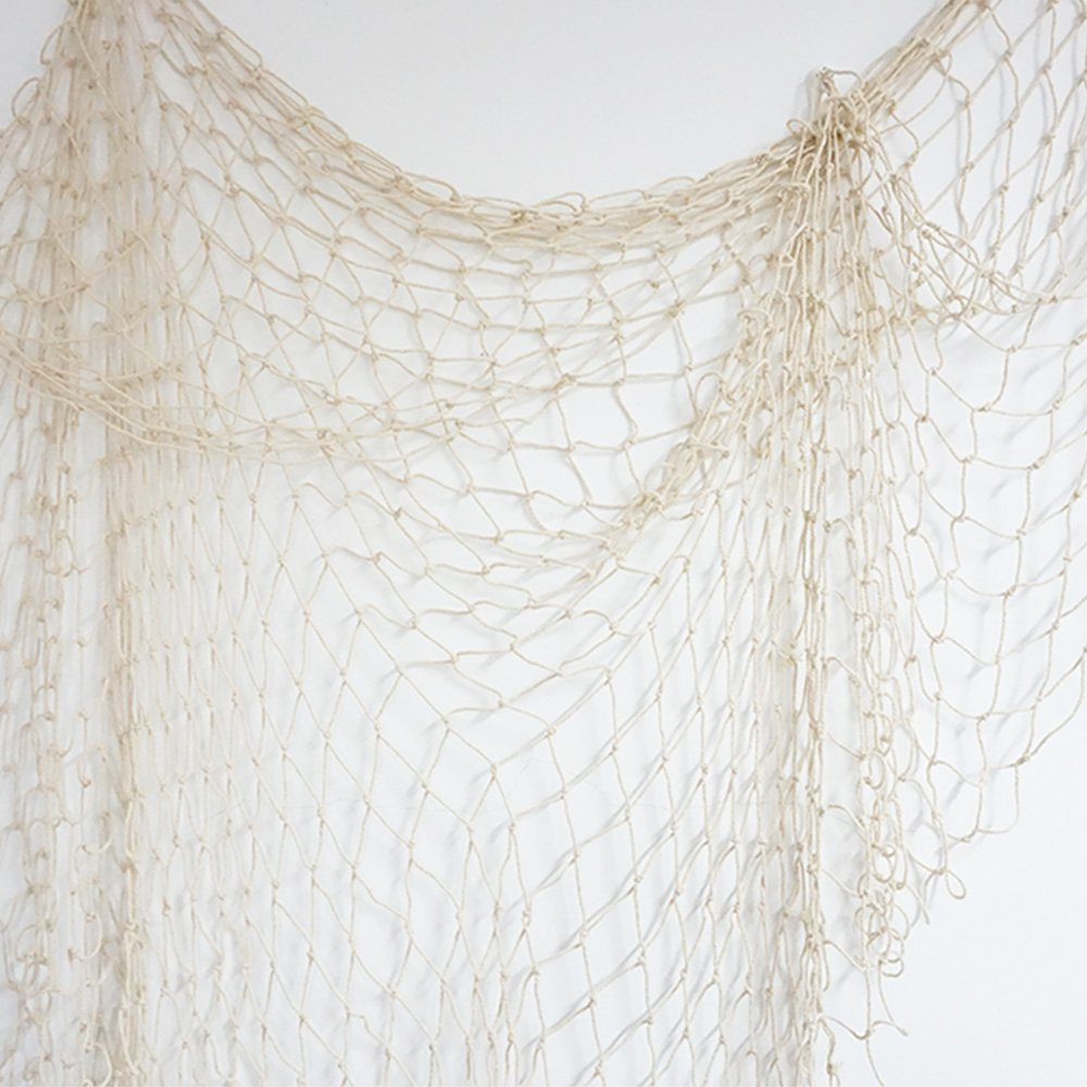 Bilipala Fishing Net, Fishing Net Decor, Wall Decor, Nautical Style, 75 Inch, Creamy White