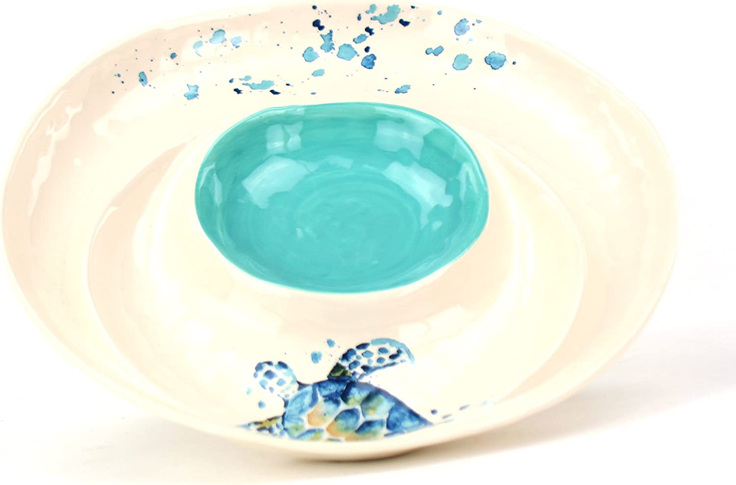 Coastal Collection Sea Turtle Chip and Salsa Plate