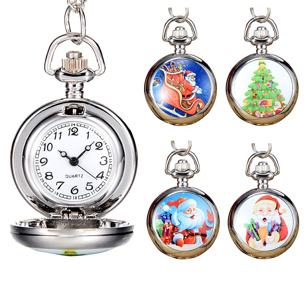 Snowman Christmas Tree Santa Claus Xmas Child Fancy Party Pocket Watch Gift by Gaweb (Image #5)