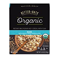 Post Better Oats Organic Instant Oatmeal with Flax Seeds and Quinoa, Bare Flavor...