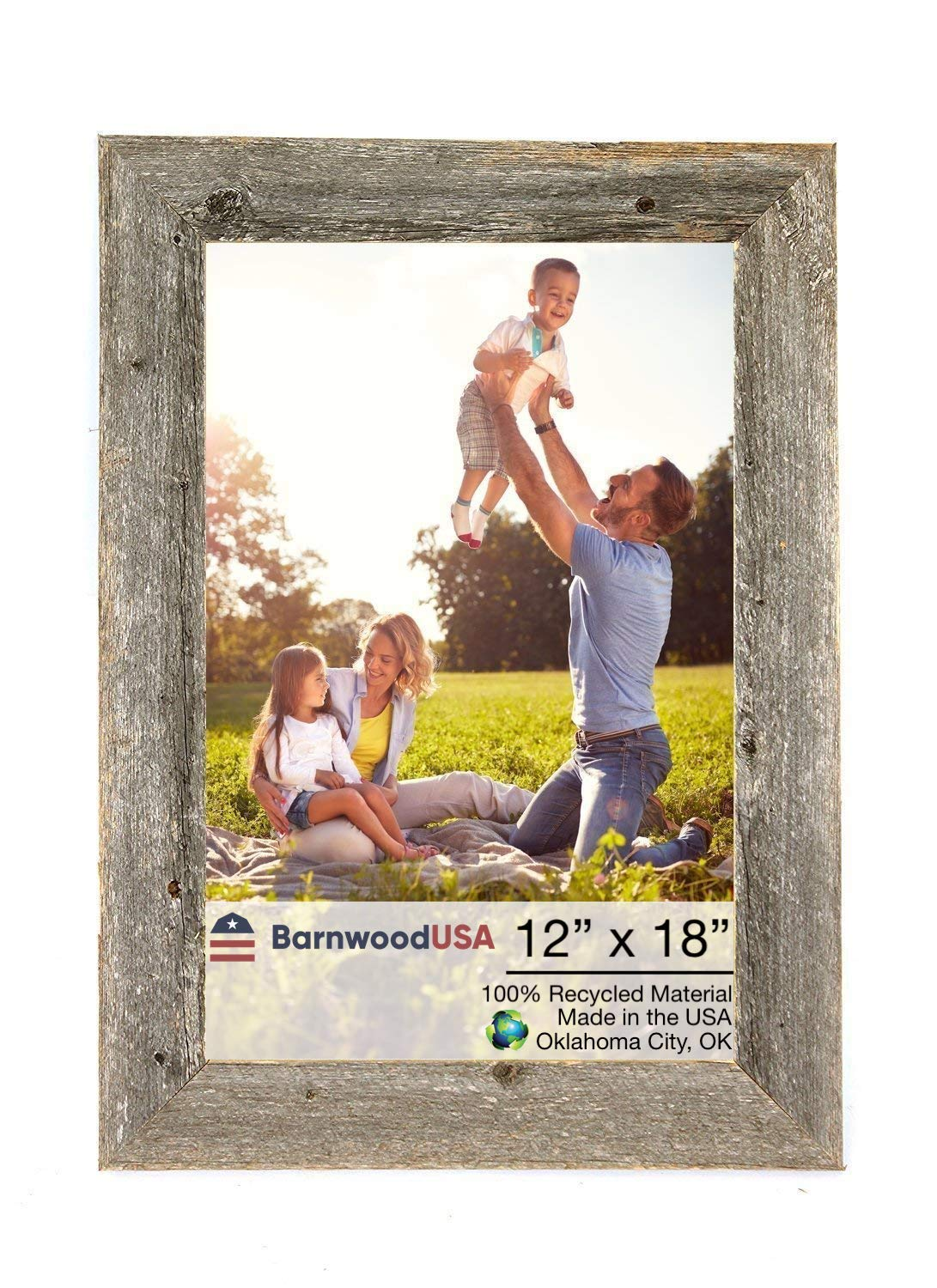 BarnwoodUSA   Farmhouse Picture Frame, 2'' inch Molding - 100% Up-cycled Reclaimed Wood (12x18, Natural Weathered Gray)