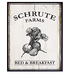 Schrute Farms Bed and Breakfast Poster Print - Funny 8x10 Wall Decor, Home Art Decoration - Unique Humorous Gift for The Office TV Show, Michael Scott, Dwight Schrute Fans - Unframed Photo Picture
