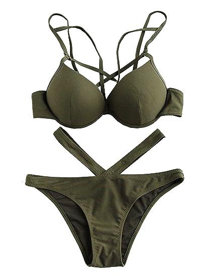 20679104ab88c ROMWE Damen Push up Bikini mit Bügel V-Kreuz Bademode Beachwear: Amazon.de:  Bekleidung