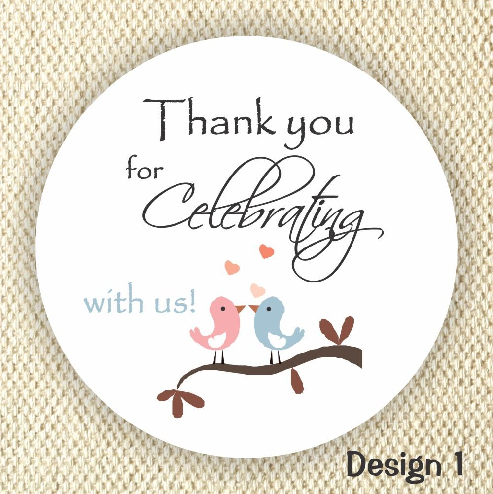 Thank You Stickers - Wedding Stickers - Anniversary Stickers - Favor Stickers - Loving Birds stickers - Set of 40 Labels