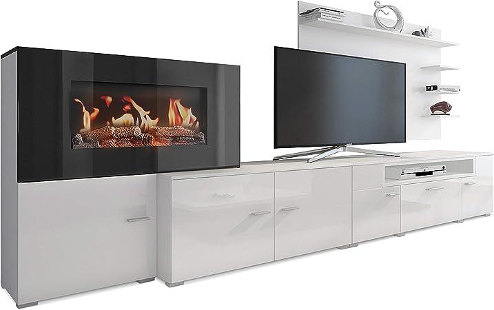 SelectionHome - Mueble salón comedor con chimenea eléctrica, acabado Blanco Mate y Blanco Brillo Lacado, medidas: 290 x 170 x 45 cm de fondo: Amazon.es: Hogar