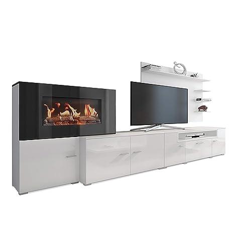 SelectionHome - Mueble salón comedor con chimenea eléctrica, acabado Blanco Mate y Blanco Brillo Lacado, medidas: 290 x 170 x 45 cm de fondo