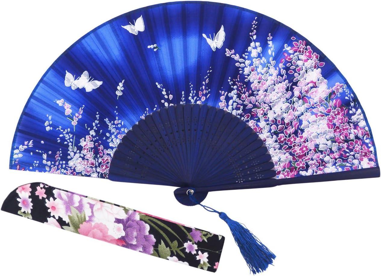 STHUAHE 21 cm Sakura Mariposa Danza Juntos Pintado a Mano Mujer Seda Plegable Ventiladores con una Funda de Tela para protecci/ón Estilo Retro Chino//japon/és para Regalo Boda Dance Paty Dodgerblue
