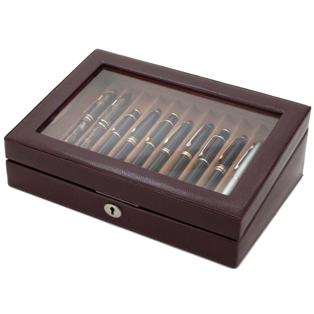 Tech Swiss TS0432BRN- 11 Pen Box Display Storage Brown Leather Glass Lid Lock by Tech Swiss
