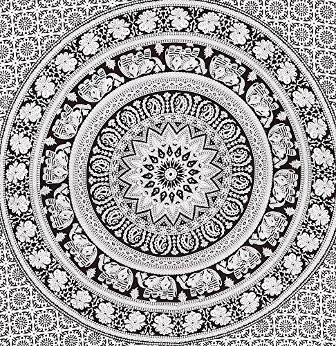 Tapestry Twin Black And White Hippie Elephant Mandala