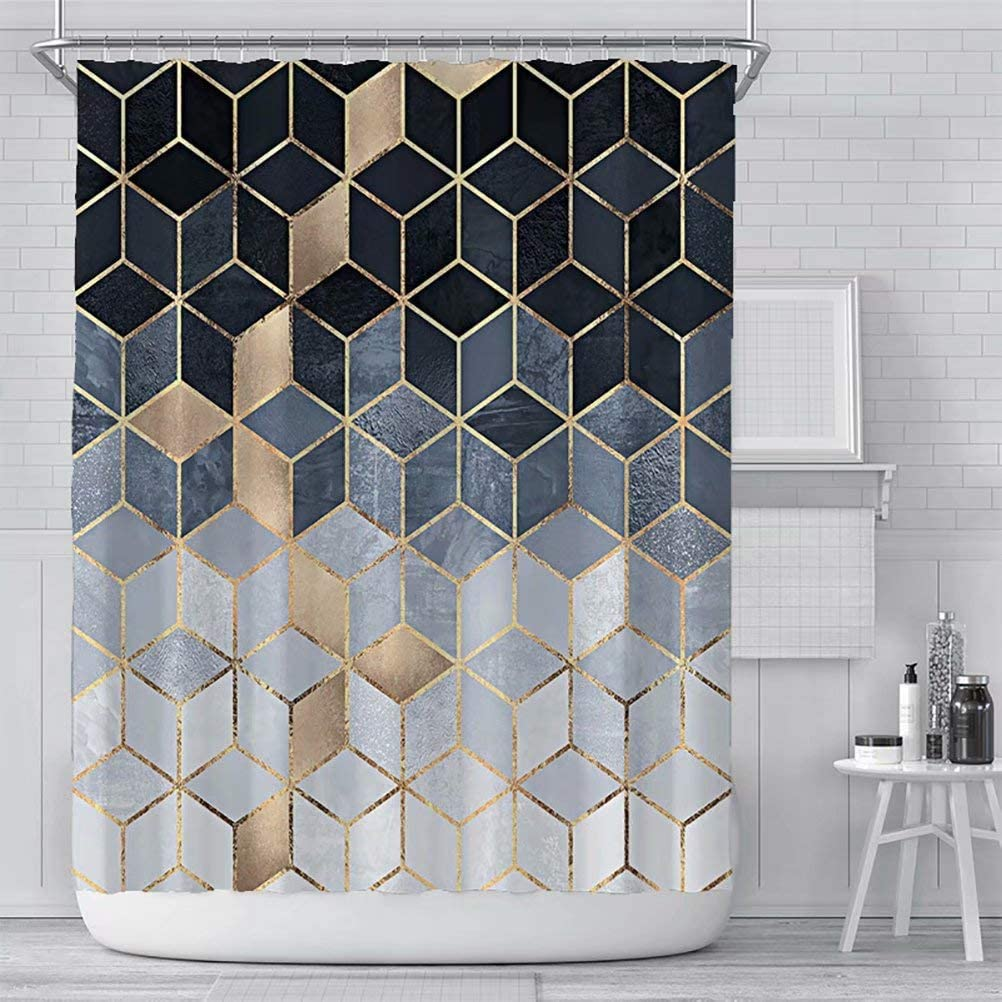 Verngo Marble Shower Curtain, Black Ombre Waterproof Colorful Geometric Grid Bath Decor - 72 Inch Color1