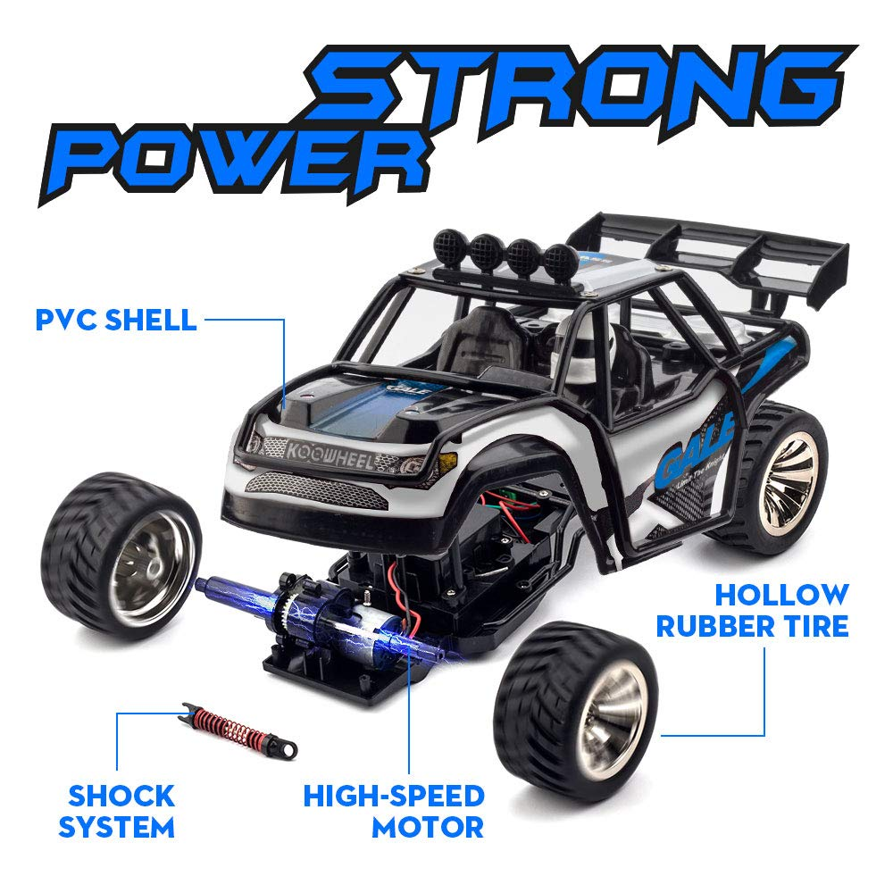 RC Cars KOOWHEEL 1:16 Scale 2WD Off Road Remote Control Cars with 2 Rechargeable Battery 2.4GHz Radio Remote Control Truck Monster High Speed Crawler USB Charger RC Car for Adults and Kids(Blue) by KOOWHEEL (Image #5)