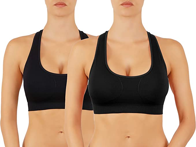 ROUGHRIVER Womens Yoga Crop Top Sports Bra with NOT Removable Adding Volume Pads Breathable Race Back